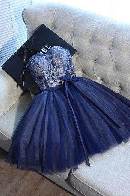 Blue sweetheart tulle homecoming dresses,lace short prom dress, homecoming dress