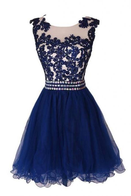 Charming Blue Homecoming Dress,Applique Prom Dress, Sleeveless Homecoming Dress,prom dress, Homecoming dress