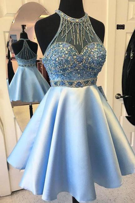 blue short prom dress, blue homecoming dress