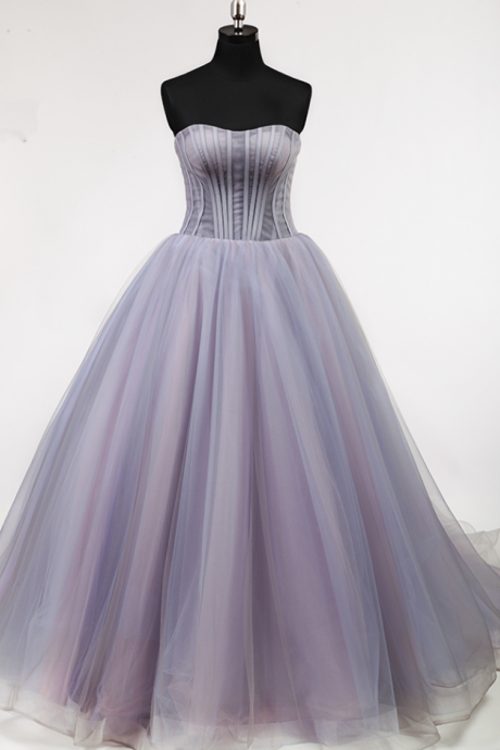 Puffy A line Off Shoulder Pleat Prom Dress, Lace Up Back Court Train Prom Dresses,Elegant Lady Lovely Light Purple Full Boning Bodice Prom Dress, Prom Gowns,Floor Length Homecoming Dress, Long Formal Dresses