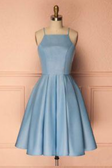 cute short blue prom dress, cute homecoming dress, blue bridesmaid dress, blue evening dress