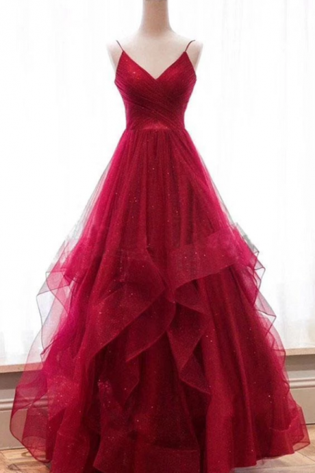 A line Red Ruffles Spaghetti Straps V Neck Prom Dresses Backless Long Evening Dresses