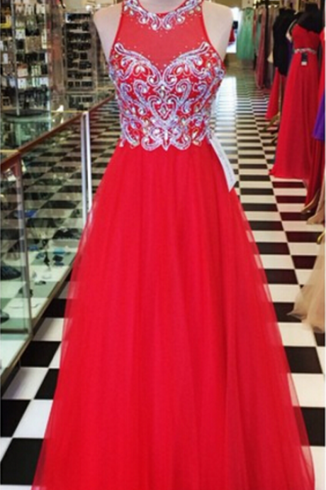 Red Long Prom Dress with Beads