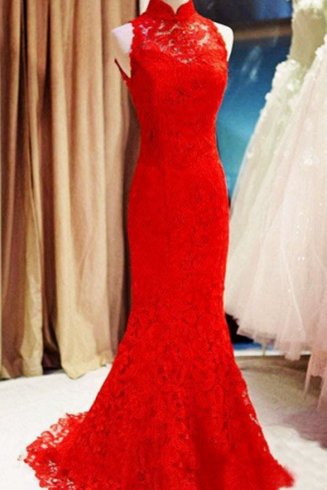 Sexy Prom Dress,Sleeveless Lace Prom Dresses,Elegant Mermaid Evening Dress,Long Prom Dress
