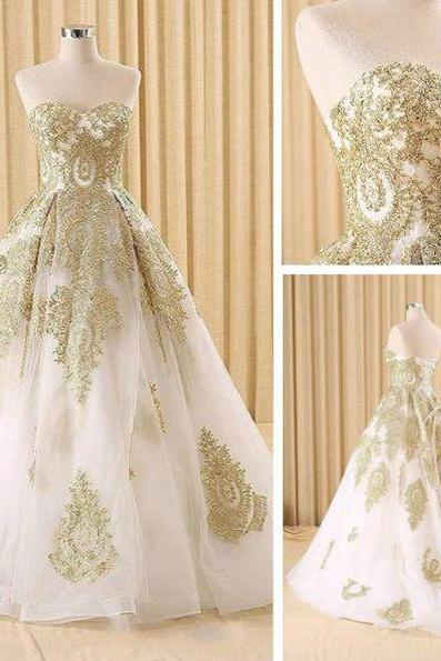 White and gold lace wedding gown,A-line sweetheart long prom dress,wedding dress,wedding dresses