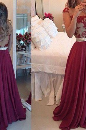 Burgundy Lace Appliques Formal Dresses,Cap Sleeves Prom Dresses,Floor Length Chiffon A-Line Prom Dress, Featuring Pearl Embellished Belt Evening Dress, Formal Dress