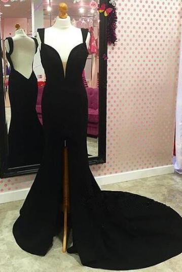 Black Sleeveless Plunging V Mermaid Long Prom Dress, Evening Dress Featuring Open Back, Front Slit Prom Dresses