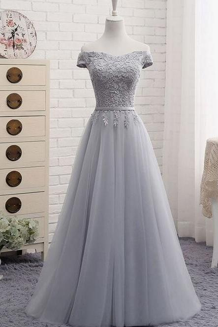 Grey Prom Dresses,Off The Shoulder Prom Dresses,Formal Evening Dresses
