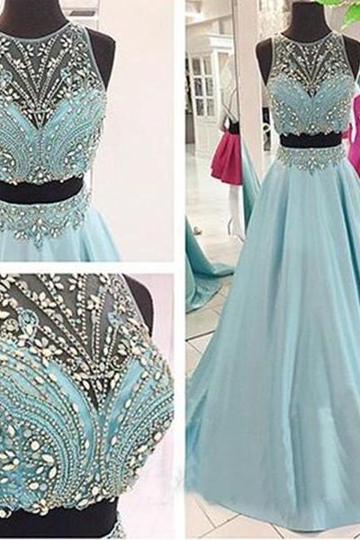 Light Sky Blue 2 Piece Prom Dresses Real Photos Formal Women Evening Dress Long Party Gowns