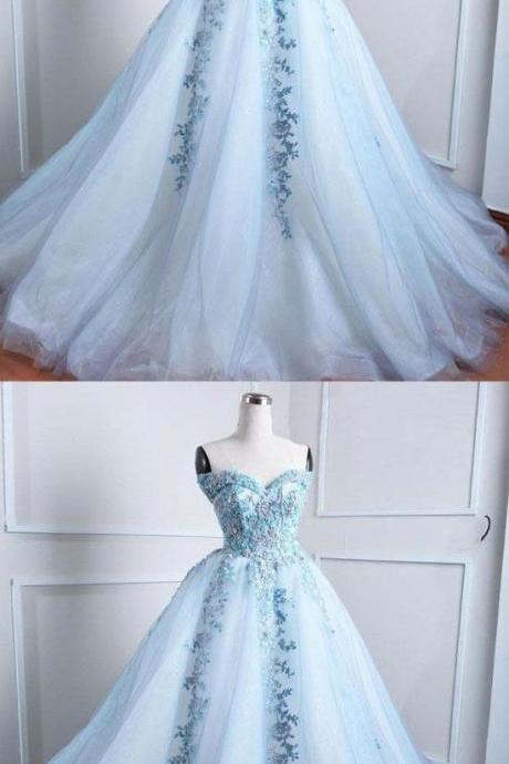 Light blue tulle lace applique long prom dress, blue evening dress, Quinceanera Dresses,Custom Made Evening Dress,Bridal Dress,Wedding Party Dresses