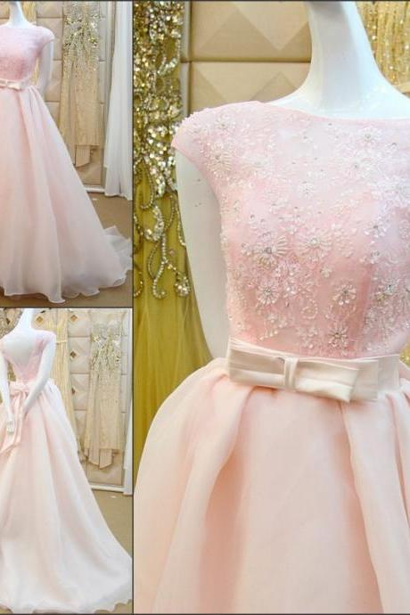 Pink A-Line Wedding Dresses Beaded 3D-Floral Appliques Bow Sash Chapel Train Piping Beading Short Sleeve Wedding Dress Bridal Gown Vestido