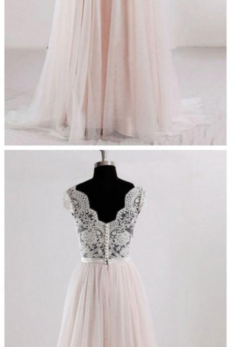 Wedding Dress A-Line, V Neck Wedding Dress, Lace Wedding Dresses