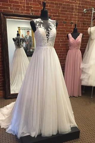 Sleeveless Sheer Plunging V Lace Appliques Wedding Dresses,A-line Wedding Dress, Featuring Sheer Back and Train Bridal Dresses