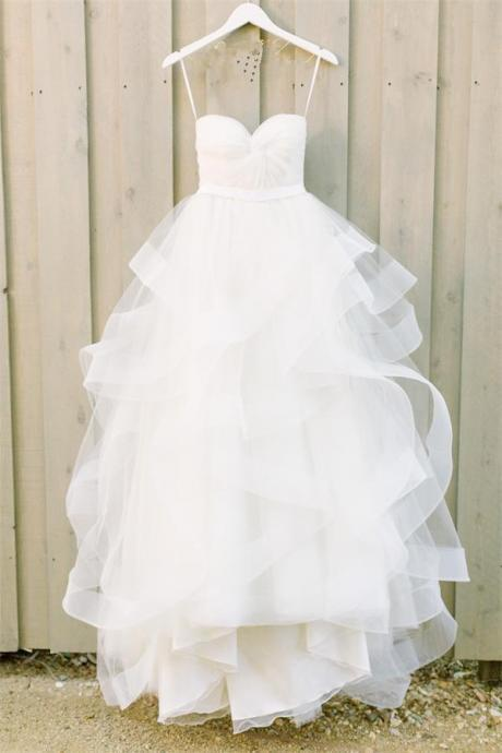 Simple Strapless White Tulle Long Cheap Princess Beach Wedding Dresses