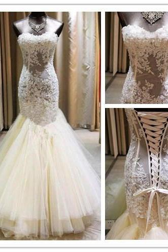 A-Line Wedding Dress, Lace Wedding Dresses, Lace-Up Bridal Dresses, Ivory Wedding Dresses, Custom Wedding Dresses