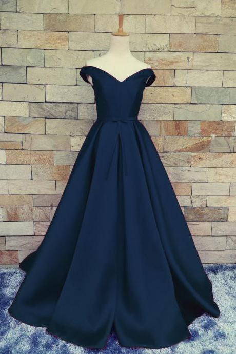 Charming Dark Navy Blue Prom Dress,A Line Prom Dresses, Satin Off The Shoulder Evening Gowns With Belt And Pleat