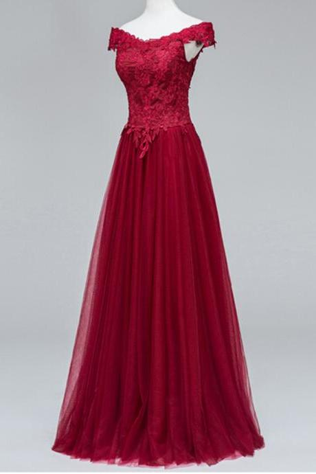 Sexy Burgundy Prom Dress,Lace Appliques Tulle Formal Dress, Featuring V Neckline Prom Dresses,And Lace-Up Back Evening Dresses
