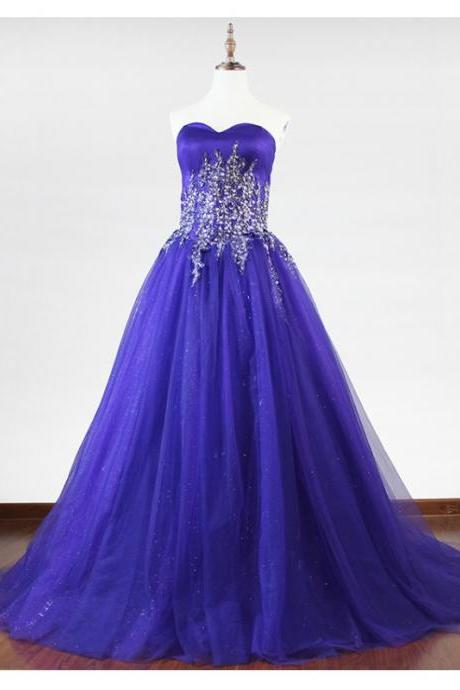Royal Blue Prom Dress, With Beaded Long Prom Dresses,Puffy Tulle Foraml Evening Dress