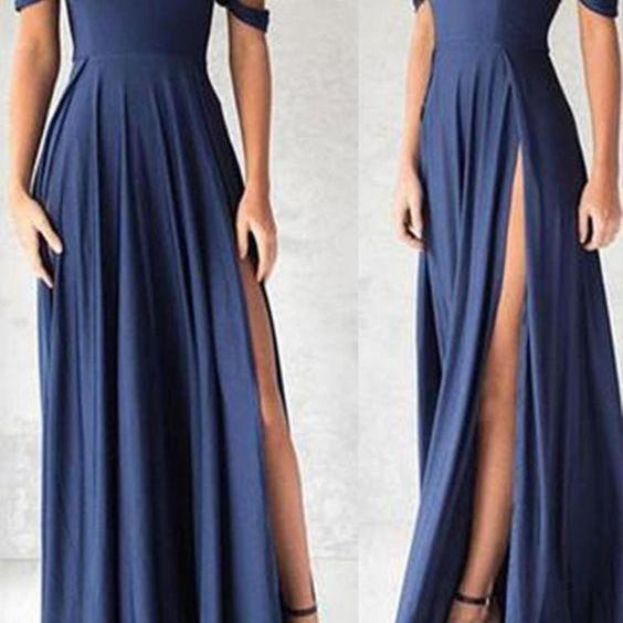 Navy Blue Off The Shoulder Prom Dress, Floor Length Formal Gown With High Slit