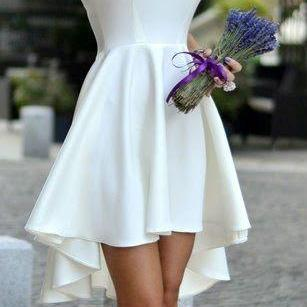 Short Sleeveless Homecoming Dress, high-low white Bridesmaid /Prom Dress