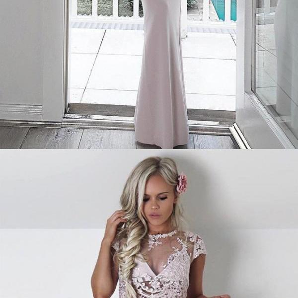 Two Piece Round Neck Cap Sleeves Floor-Length Ivory Prom Dress with Lace