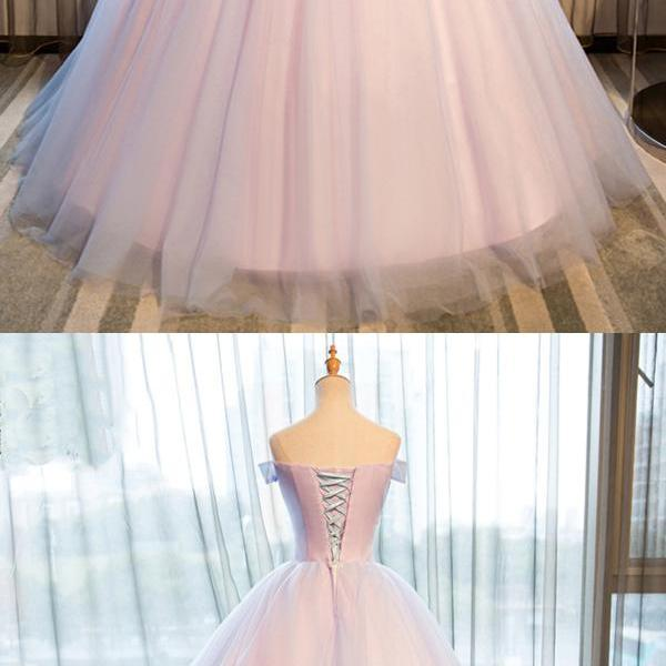 princess strapless off shoulder flower long tulle prom gown, formal evening dress