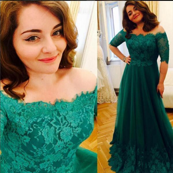 Princess Green Lace Prom Dresses, Short Sleeve A Line Tulle Prom Gowns ,Vintage Plus Size Evening Formal Dress