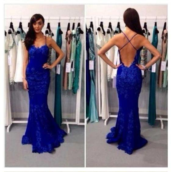 Long Prom Dress, Lace Prom Dress, Blue Prom Dress, Straps Prom Dress, Custom prom dress,Backless Prom Dress