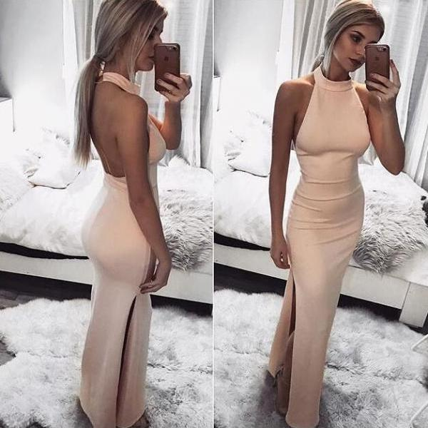 Sexy Pink Prom Dress, Hign Neck Evening Dress, Backless Prom Dresses, Satin Long Formal Dress
