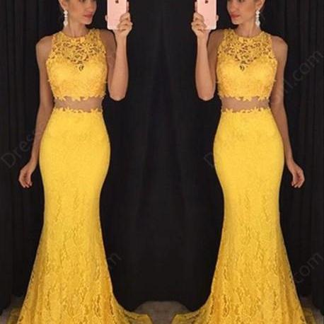 Custom Charming Yellow Lace Two Pieces Long Prom Dress,Sexy Sleeveless Evening Dress,Sexy See Through Prom Dress
