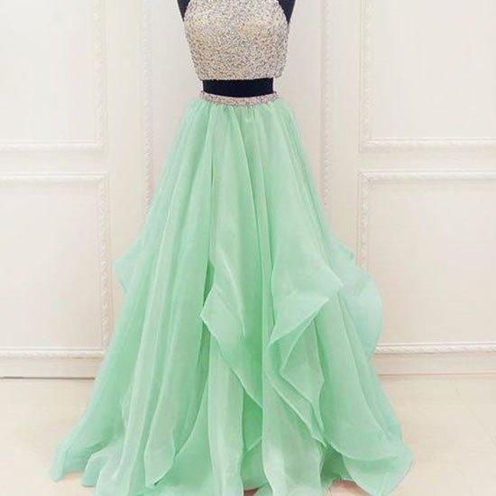 unique two pieces sequin green long prom dress, evening dress