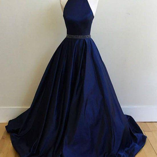 Charming Prom Dress,Sexy Prom Dresses, Simple Halter Prom dress, Navy Blue Prom Dresses, Ball Gowns